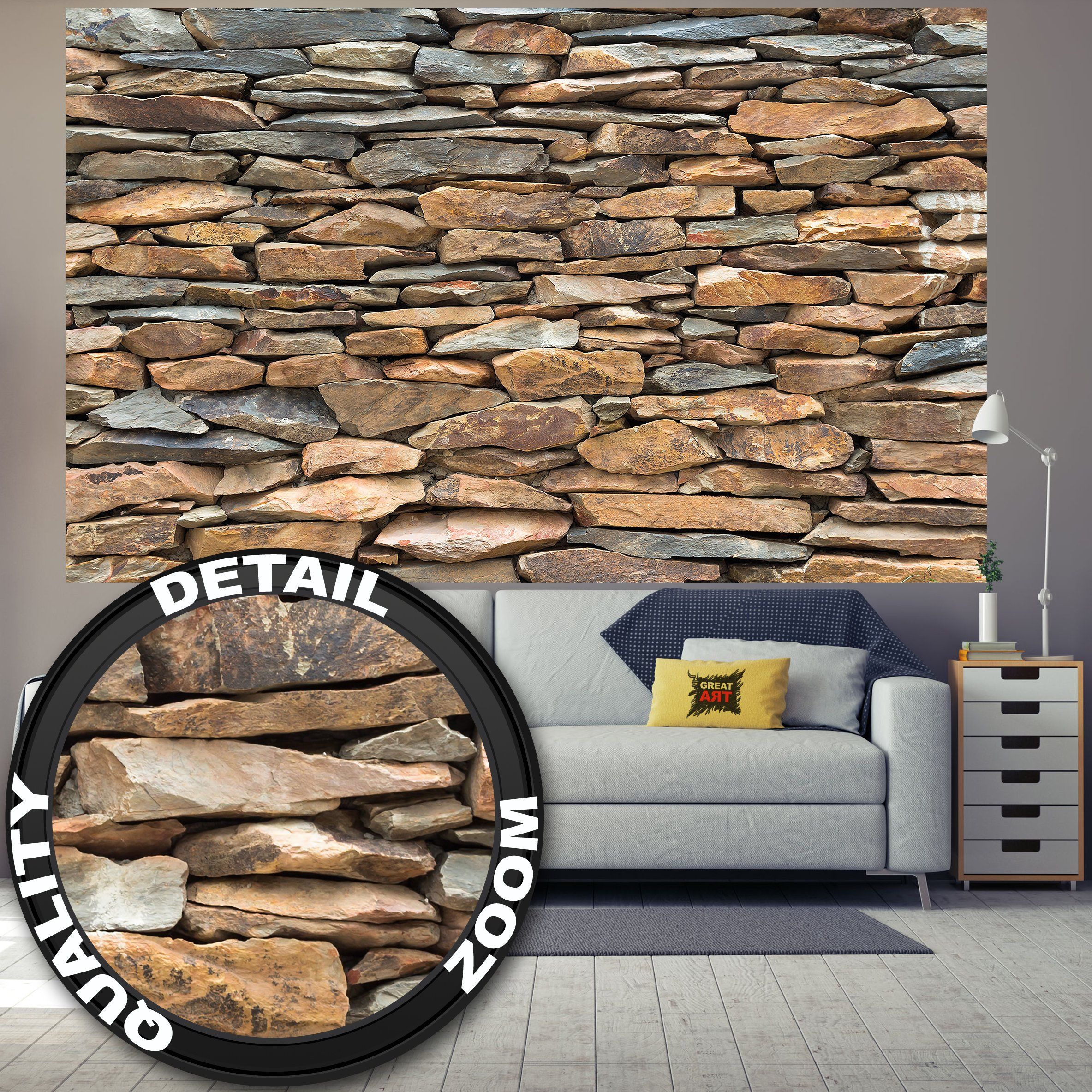 Wallpaper Schiefer Stonewal – wall picture decoration 3D Stone wallpaper Stone pattern Tapestry Stone optic Wall Slate Stone cladding I paperhanging poster wall decor by GREAT ART (82.7x55 Inch)