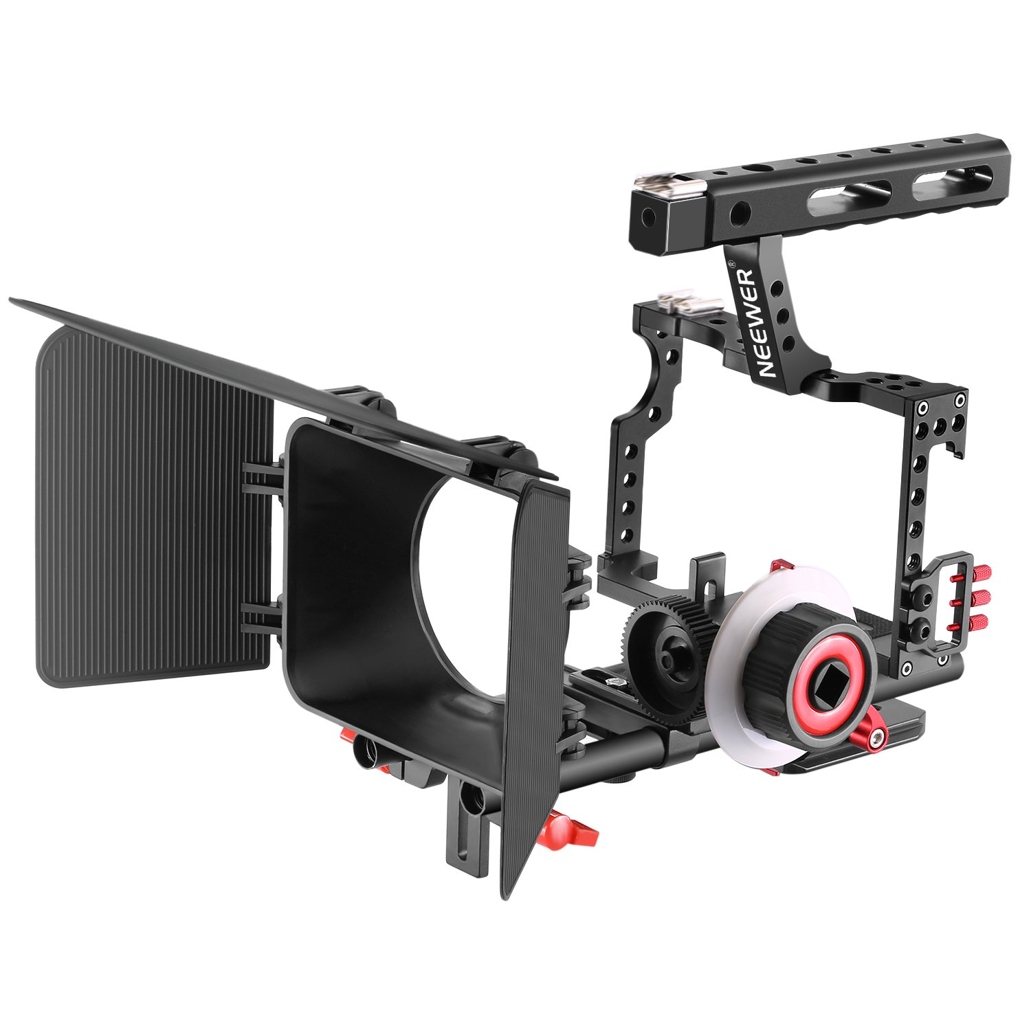 ddfd5f985 Get Quotations · Neewer Film Movie Making Camera Video Cage with 15mm Rail  Rods Matte Box, Follow Focus
