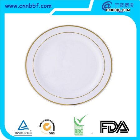 Premium Quality Heavyweight White with Gold Rim Plastic Plates Charge Plate