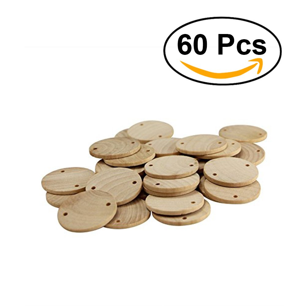 ROSENICE Round Wooden Pieces 3.8cm DIY Wood Piece with Hole for Art Crafts Project 50pcs