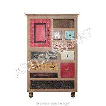Vinatge Antique Apricot Painted Multi Drawer Storage Cabinet Hand Painted  Drawer Cabinet From India