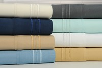 Laura's Lace 100GSM 3 Line Embroidered 4 Piece Extra Soft Sheet Set w/ Bamboo Finishing