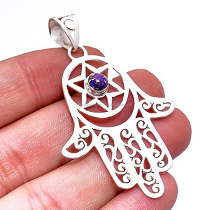 Sterling silver purple copper turquoise hamsa natural gemstone magnificent look handmade pendant
