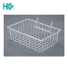 White wire home storage basket for grid panel