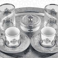 Silver Decored Turkish coffee cup Set