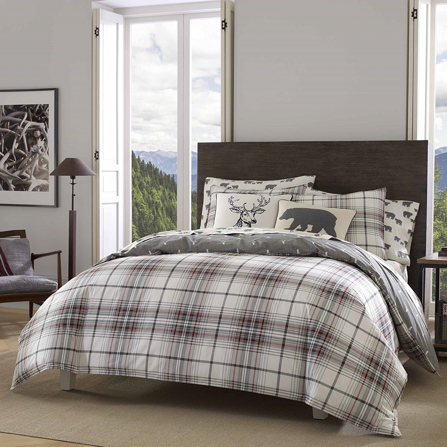 DP 3pc Grey Red White Plaid Comforter Full Queen Set, Deer Pattern Flannel Cotton, Tartan Bedding Checked Buffalo Check Classic Madras Cabin Lodge Lumberjack Hunting