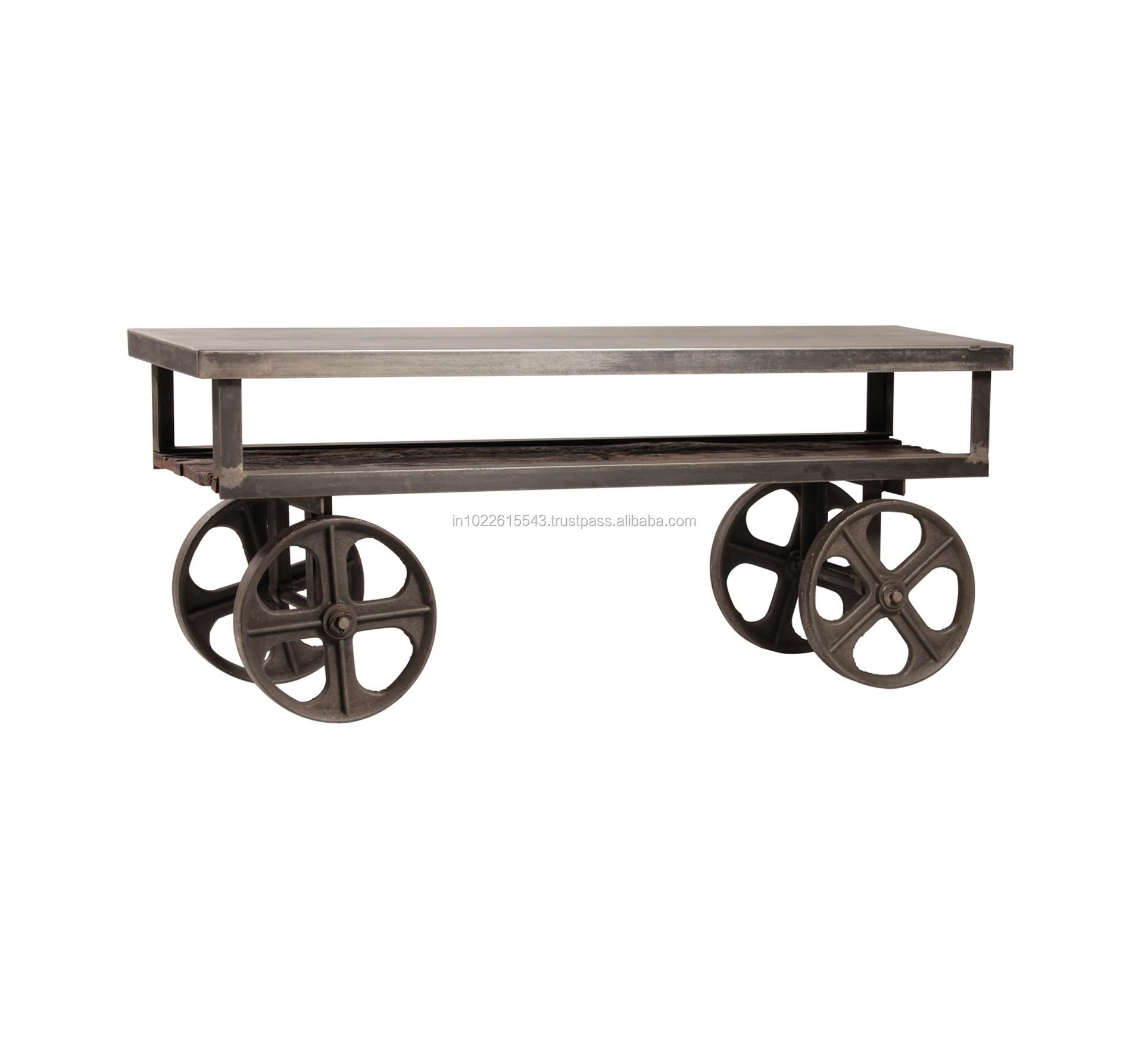 Tavolino Con Le Ruote.Metallo Industriale Tavolino Con Ruote Rigenerata Legno E Ferro
