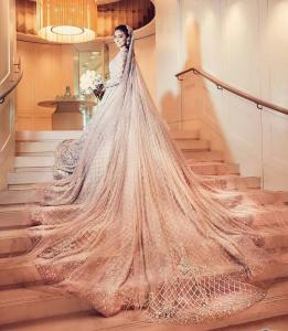 Pakistani long trail wedding dresses