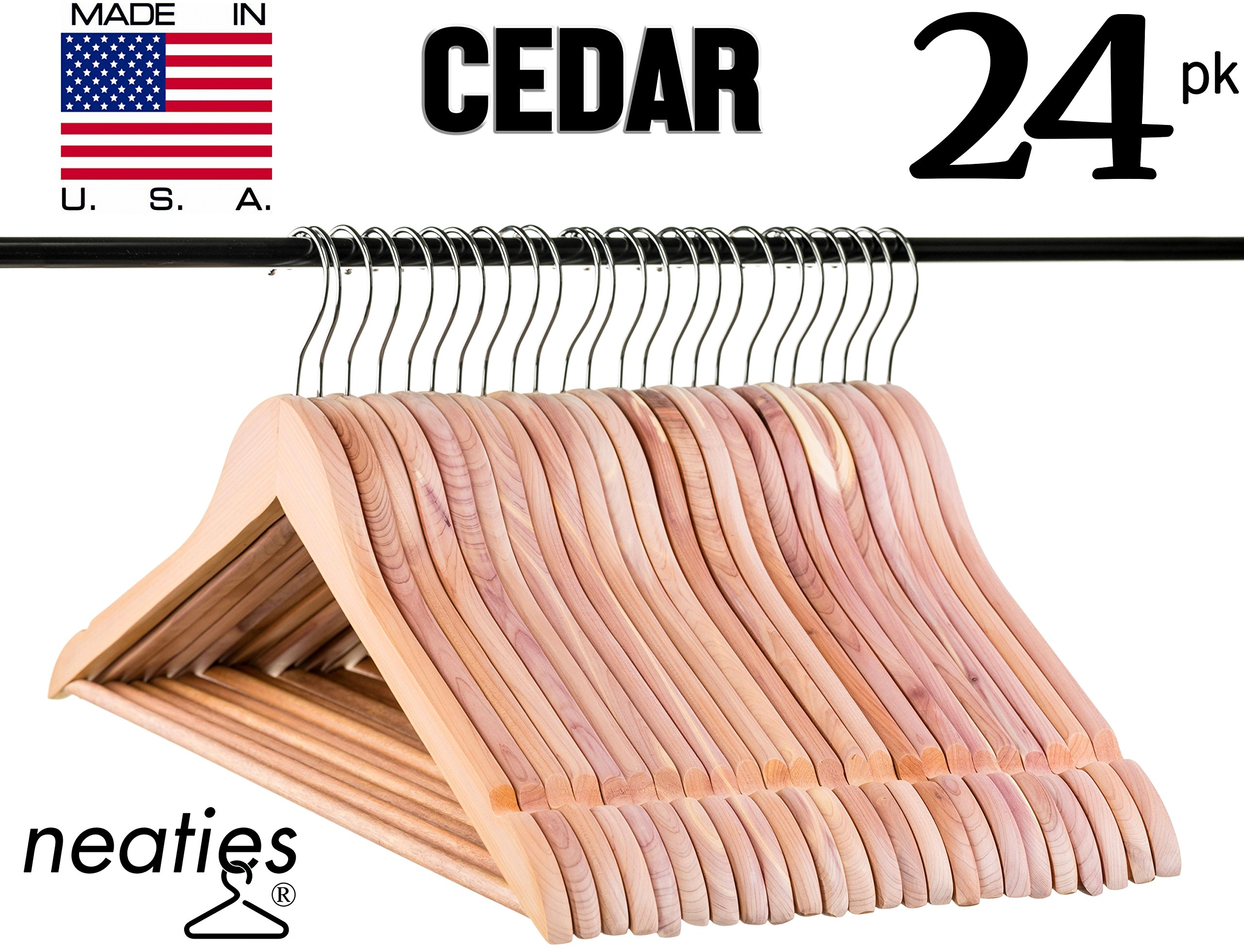 10 Pack Wahdawn Cedar Wood Coat Clothes Hangers with Bar and Non Slip Notches