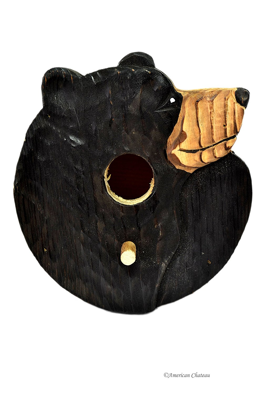 American Chateau Hand Carved & Painted Vintage-Style Wood Black Bear Bird House Garden Decor