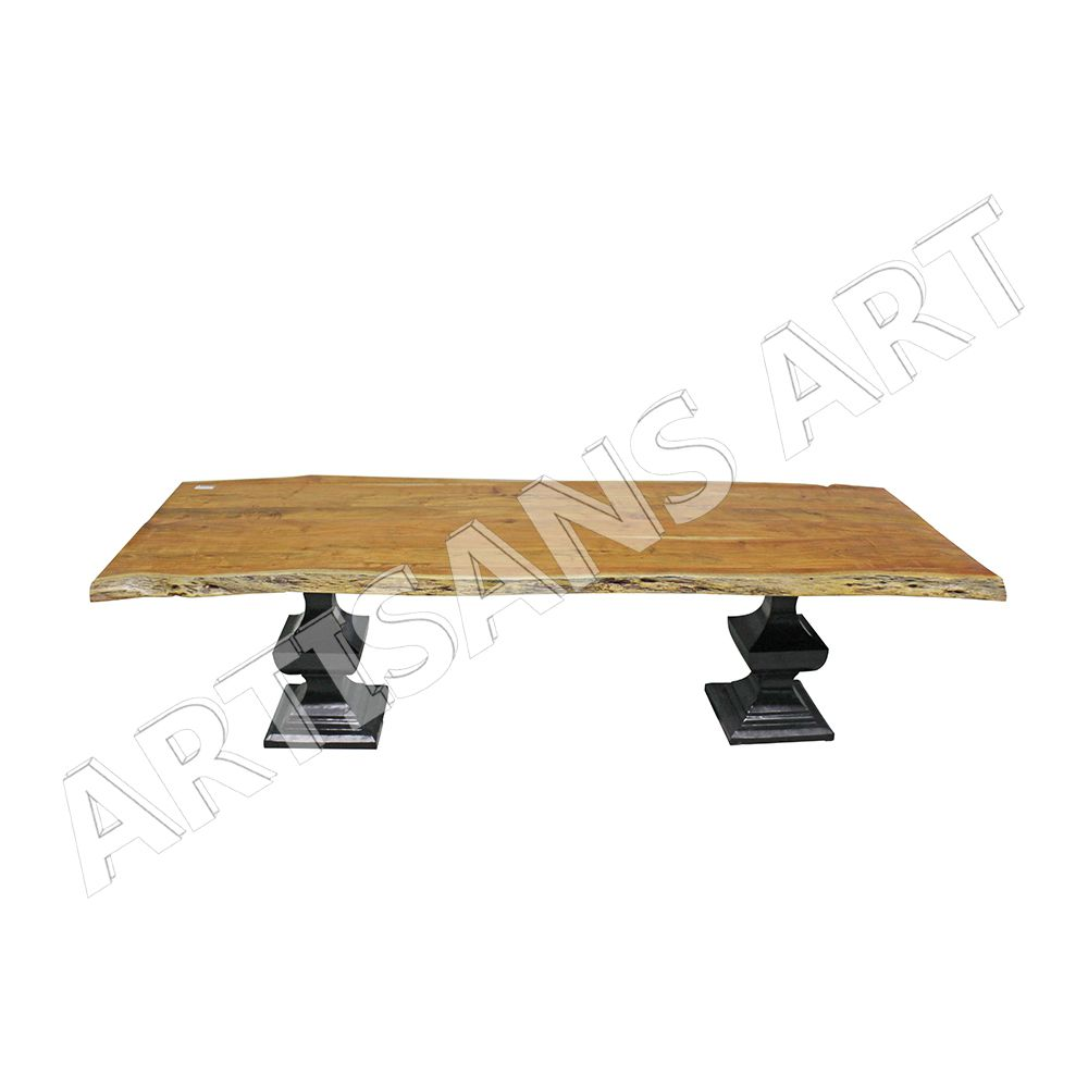 live edge dining table reclaimed wood solid wood cast iron table