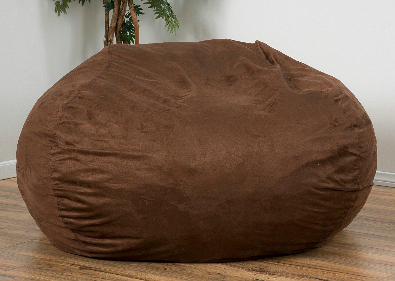 "Huge Bean Bag Chair 5 Foot Micro Suede Fabric 66"" Eco Microfiber Large Chocolate Brown"
