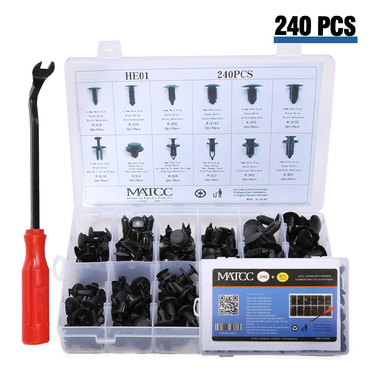 Get Quotations · MATCC 240 Pcs Push Retainer Kit Rivet Clips Assortment Set  with Fastener Remover Fits for GM