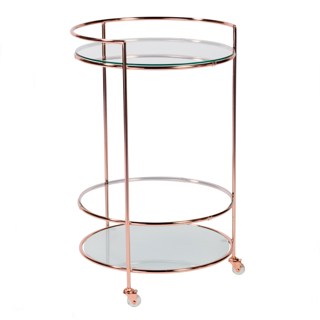 Round Hotel Dining Wine Food Serving Trolley Cart