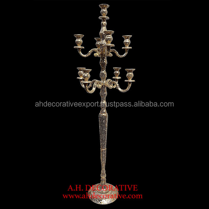Gold Mirror Mosaic Candelabra 9 Candle