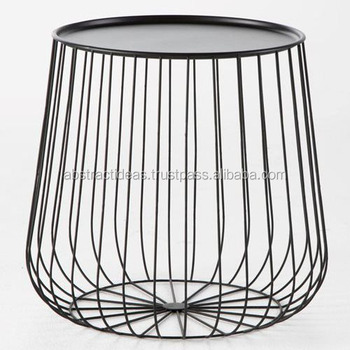 Iron Wire Side Coffee End Table Round Black / Gold Metal Top   Decorative  Accent Living