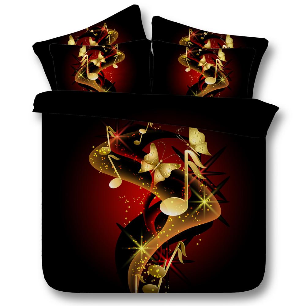 Copripiumino Note Musicali.Splendido Oro Farfalla E Note Musicali 3d Biancheria Da Letto Set