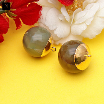 Natural healing stones 21x24mm single bail gold edged round gemstone vessonite pendant ball connector