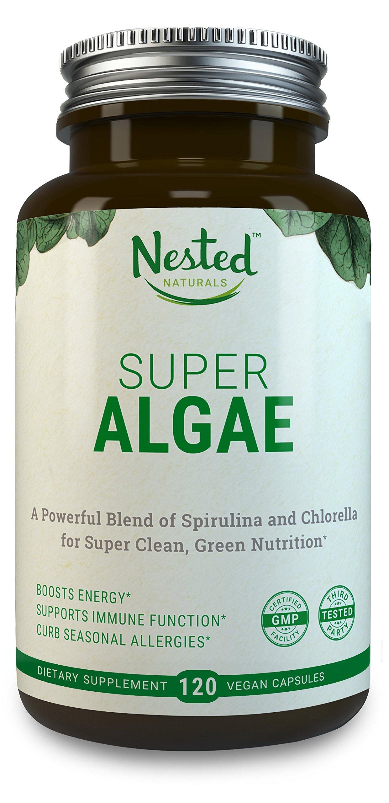 SUPER ALGAE 500mg | 120 Vegan Capsules | 50/50 Spirulina + Chlorella Powder, 100% Non GMO | Antioxidant Superfood, Natural Detox, Body Cleanse & Gut Health Booster | Blue Green Algae Blend Supplement