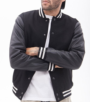 Custom men black leather varsity jackets