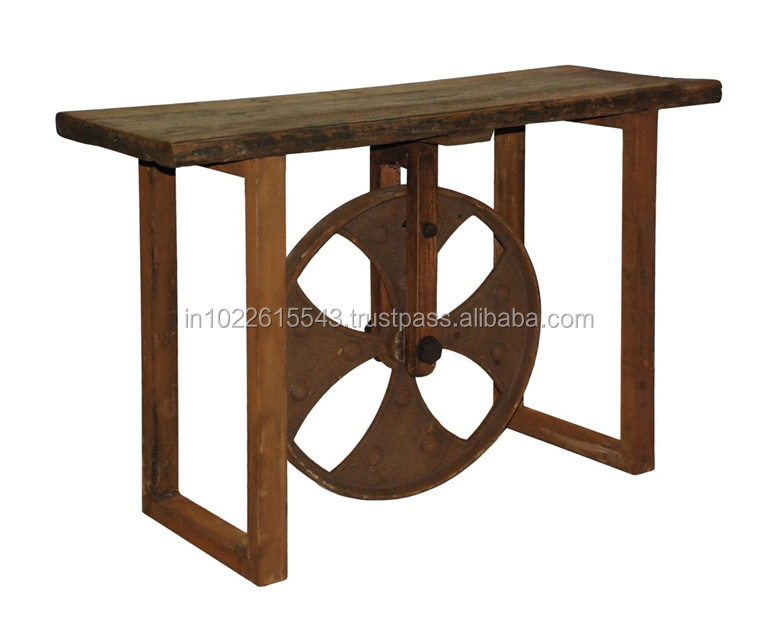 Industrial Acacia Wood Slab Console Table With Decorative Metal Wheel Base    Buy Antique Wood Console Tables,Industrial Wood Metal Console Table,Bed  Side ...