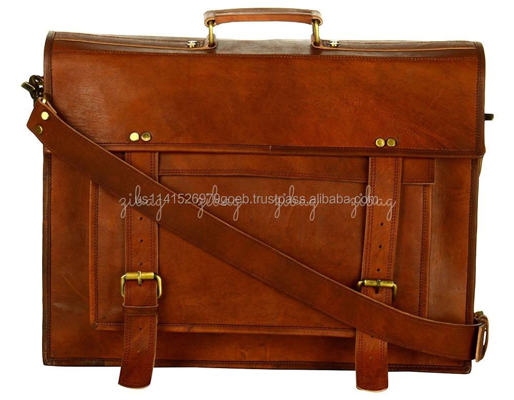 Handmade Leather Laptop Vintage Messenger Bag For Office College Briefcase Bags Men