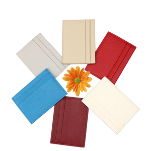 Slim name card holder Pu leather id card holder with multiple Pocket