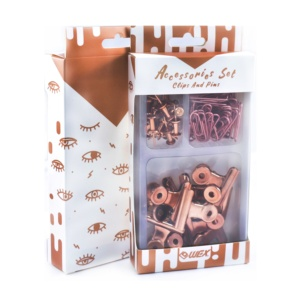 Stationery Set Rose Gold Color Assorted Clear Box and Storage Tray Vintage Nostalgia Series