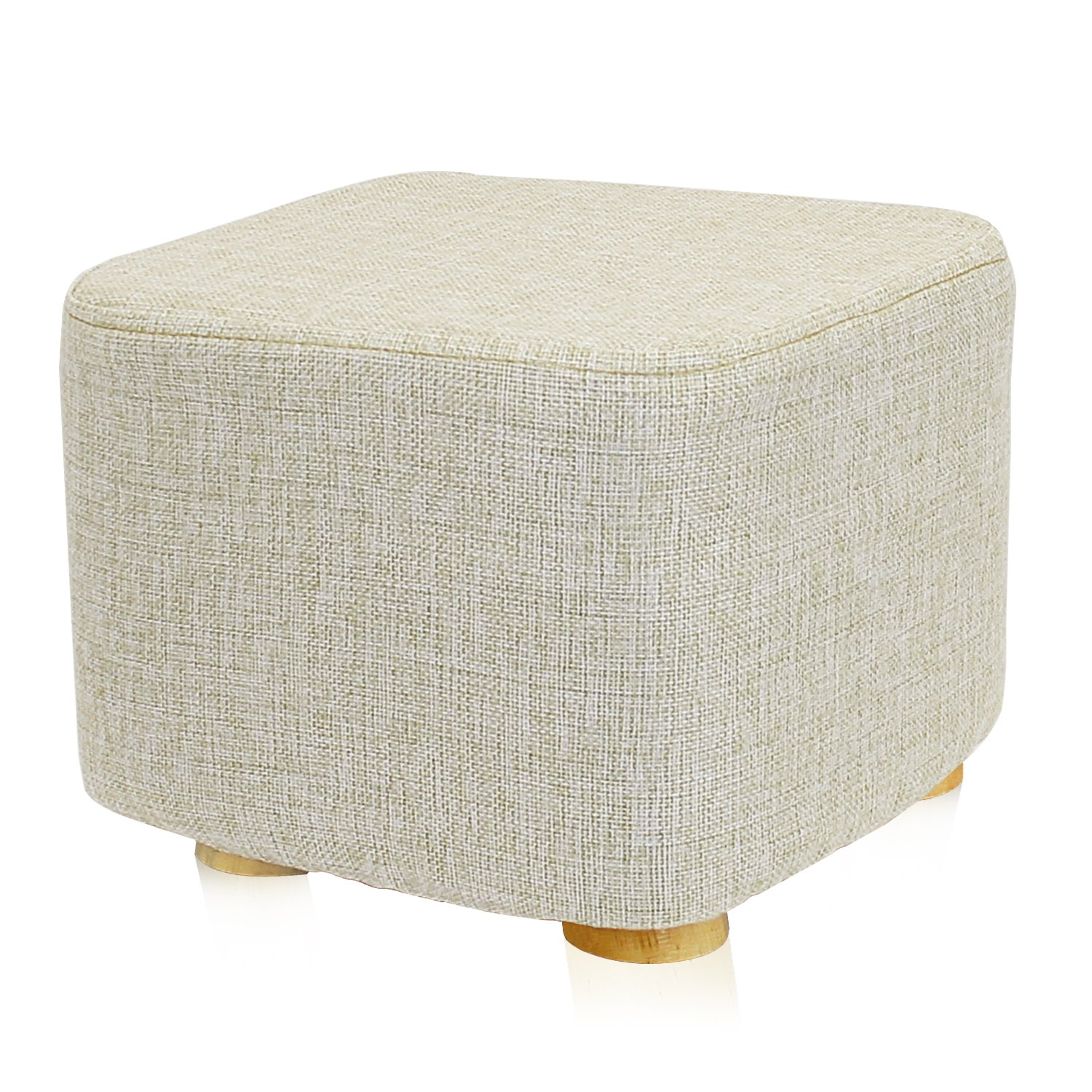 DL furniture - Square Ottoman Foot Stool, 4 Leg Stands, Short Leg, Square Shape | Linen Fabric, Beige