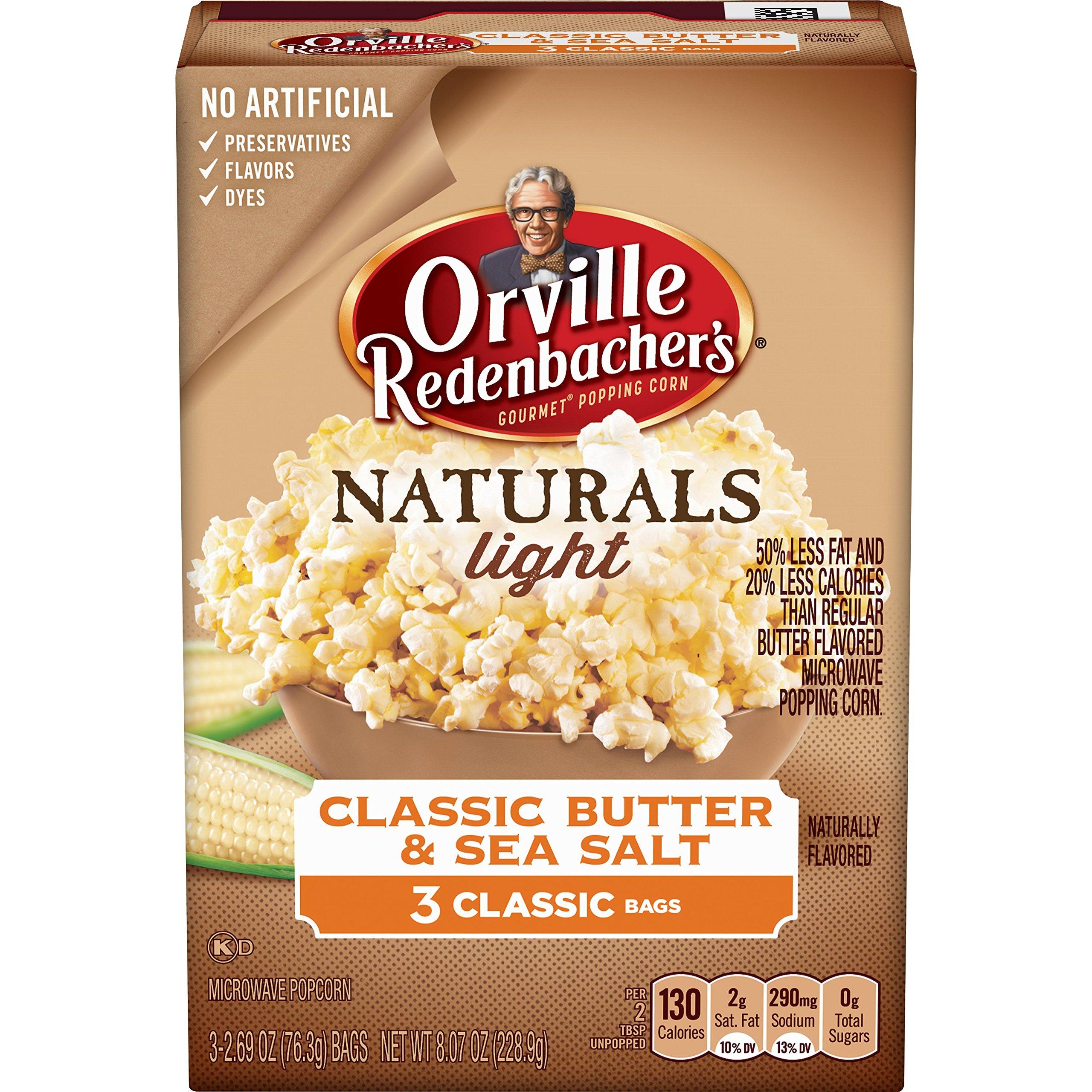 Orville Redenbacher's Naturals Light Classic Butter & Sea Salt Popcorn, Classic Bag, 3 Count