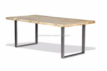 Acacia hout live edge slab top met metalen benen eettafel