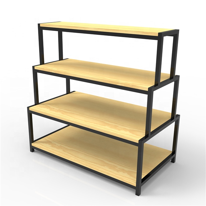 new type supermarket display stand wooden shelf cheap storage rack
