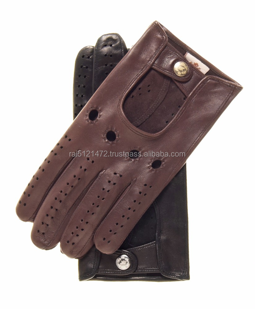 Mens Long-Fingered Lambskin Leather Driving Gloves