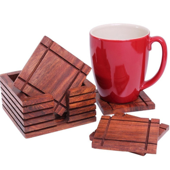 Rustic Wooden Square Bar Coasters For Drinks With Holder Hand Carved Barware Dining Accessory