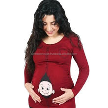 Wholesale Big Size Side-shirred Solid Maternity Pregnancy T shirts