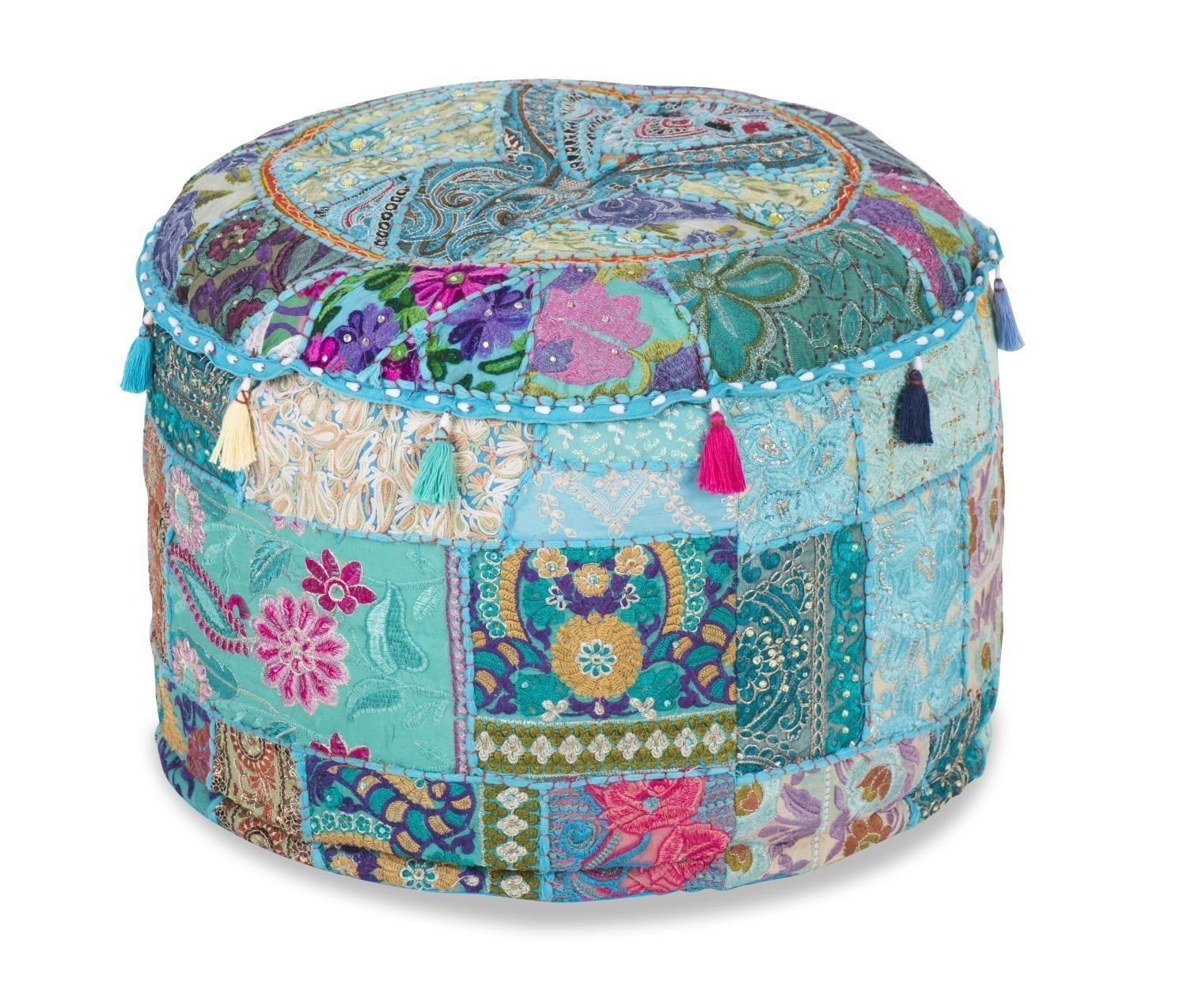 Footstool ottoman cover pouf round furniture pouffee floor cushion decor 16Wx12H