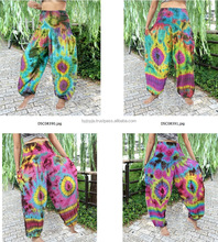 Handmade tie dye color mixed SMOCK WAIST RAYON Harem Pants Trousers PLUS SIZE