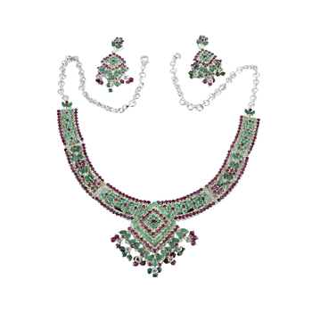 Beautiful design ruby & emerald gemstone jewelry set handmade 925 sterling silver jewellery wholesaler India