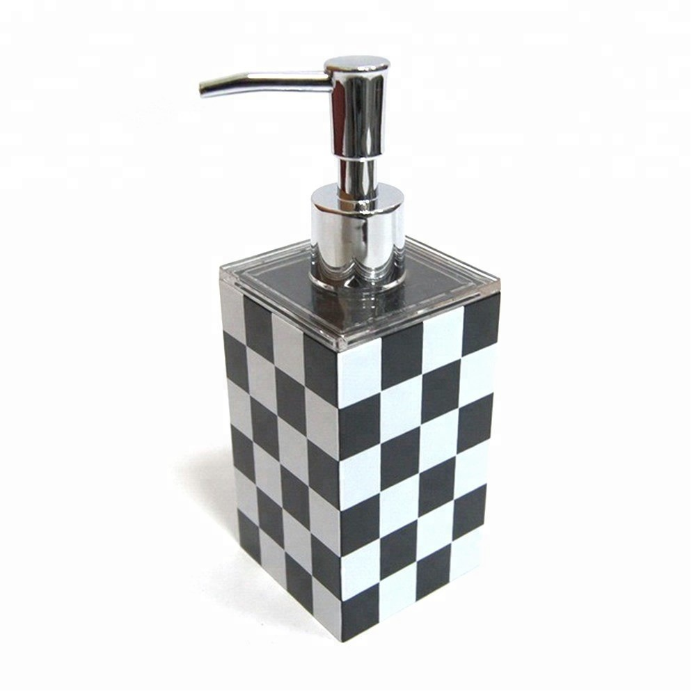 Bathroom Soap Dispenser With Black & White Pattern