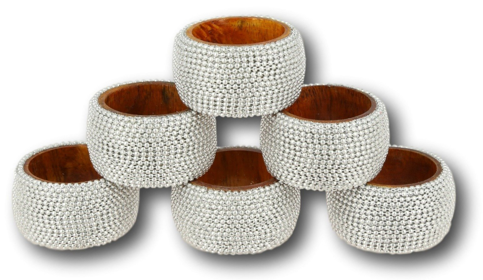 ShalinIndia Handmade Indian Silver Aluminum Ball Chain Wooden Napkin Ring Set - Set of 6 Napkin Rings - Industrial Chic Look - Made in India