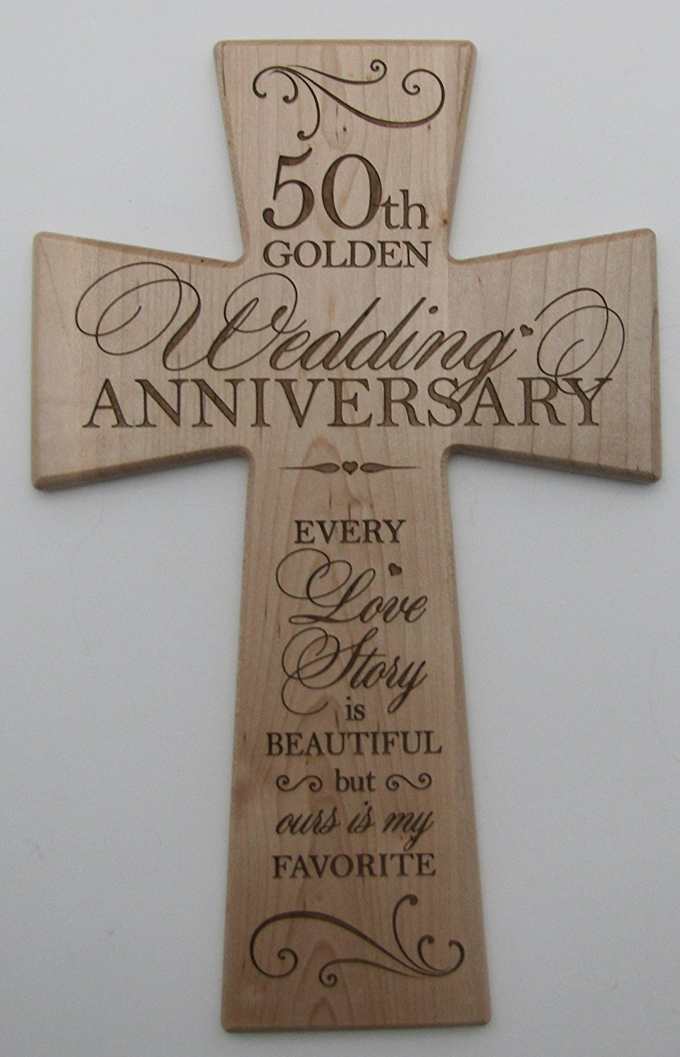 Get Quotations 50th Wedding Anniversary Maple Wood Wall Cross Gift For 50 Year Gifts