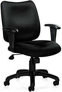 """Offices To Go Discount Office Chair Overall Dimensions: 26""""W X 26""""D X 36""""H Seat Height: 16-20"""" Seat Size: 20""""W X 18""""D Back Size: 18.5""""W X 17""""H Arm Height: 9.5-11"""" - Black Quilt"""