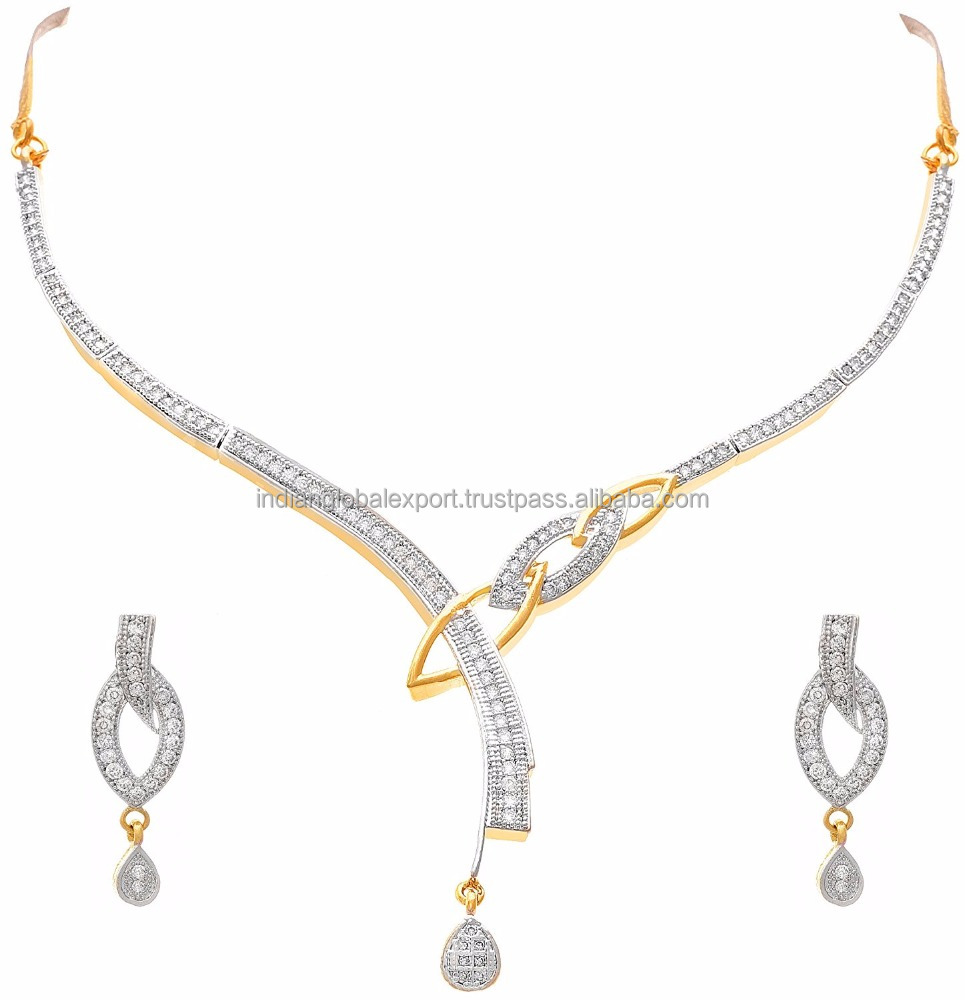 Gold Plated Cz American Diamonds Designer Necklace Set For Women