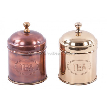 Tea Canister In Brass With Copper Antique Finish Vintage Design Tea Tin Caddy Box Silver Metal Coffee Tea Sugar Canister Set Buy Kitchen Tea