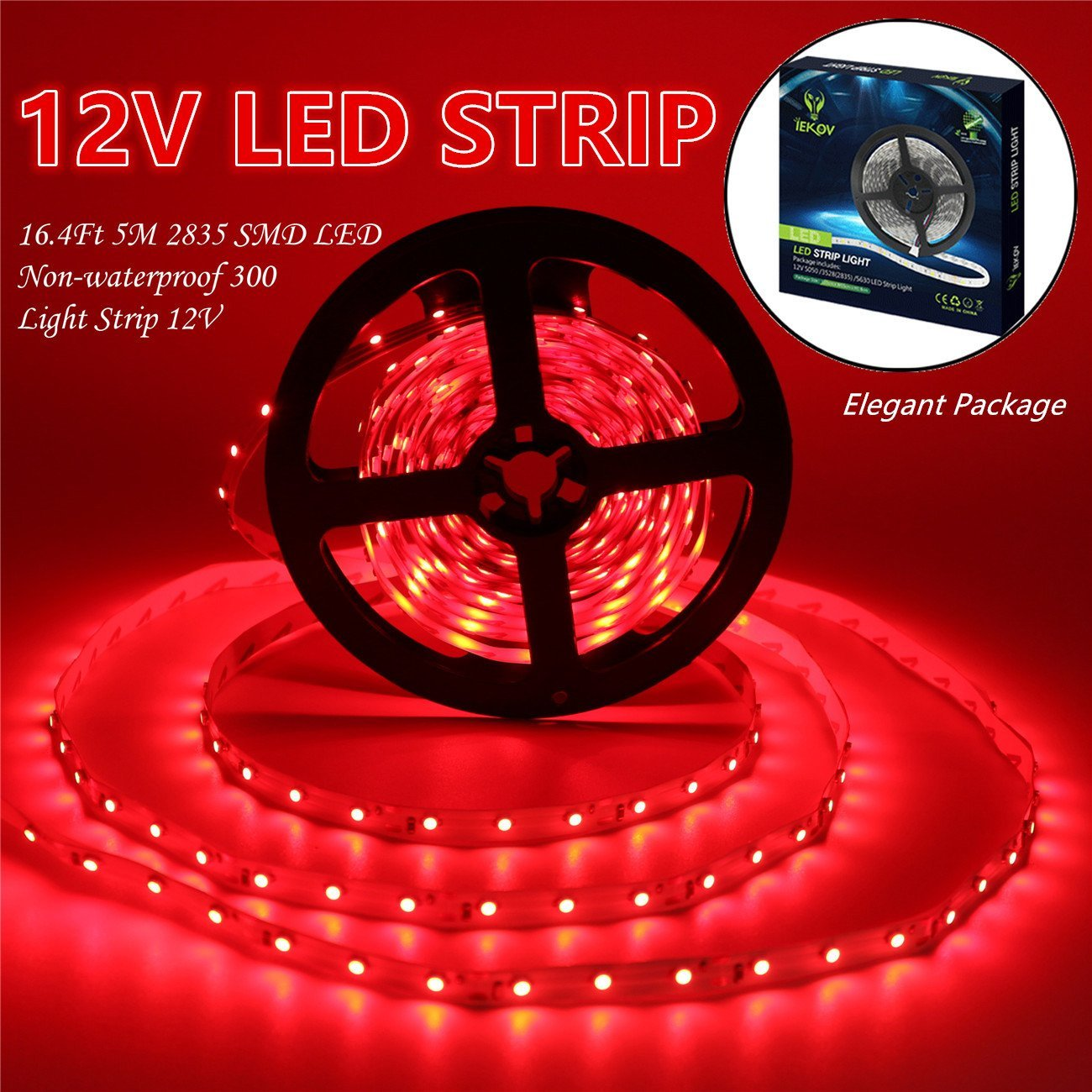 Led Strip Lights, IEKOV™ 2835 SMD 300LEDs Non-Waterproof Flexible Xmas Decorative Lighting Strips, LED Tape, 5M 16.4Ft DC12V, 2 times brightness than SMD 3528 LED Light Strip (Red)