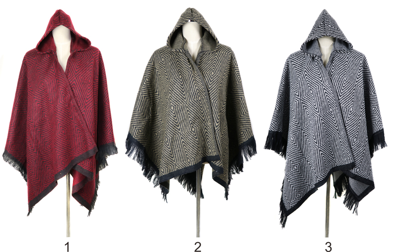 Latest Fashion Women Hooded Poncho Plaid Pattern Cashmere Tassel Shawl Scarf