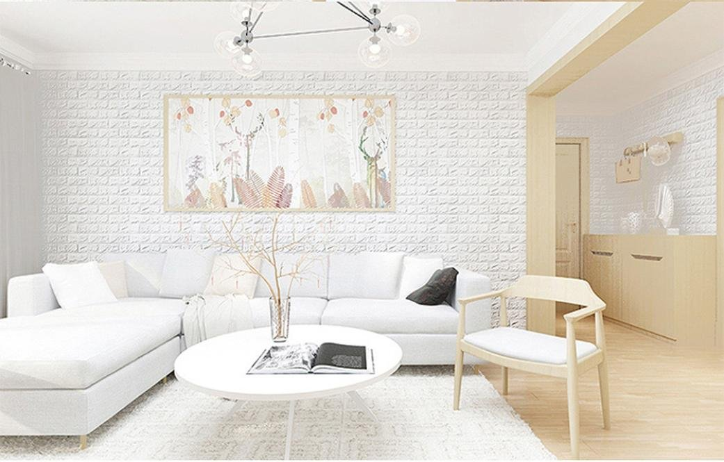 Wall Stickers, CieKen 3D Wallpaper DIY Wall Panels Embossed Brick Stone Wall Decor White for Living Room / Bedroom Decoration, White Brick Wallpaper