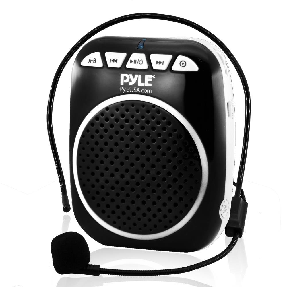 Pyle Portable Voice Amplifier Speaker - Headset-Microphone, Mini Personal Portable Microphone Pa Speaker, Rechargeable Battery, Waistband - for Karaoke Teachers Costume Coach Tours USB MP3 - PWMA55