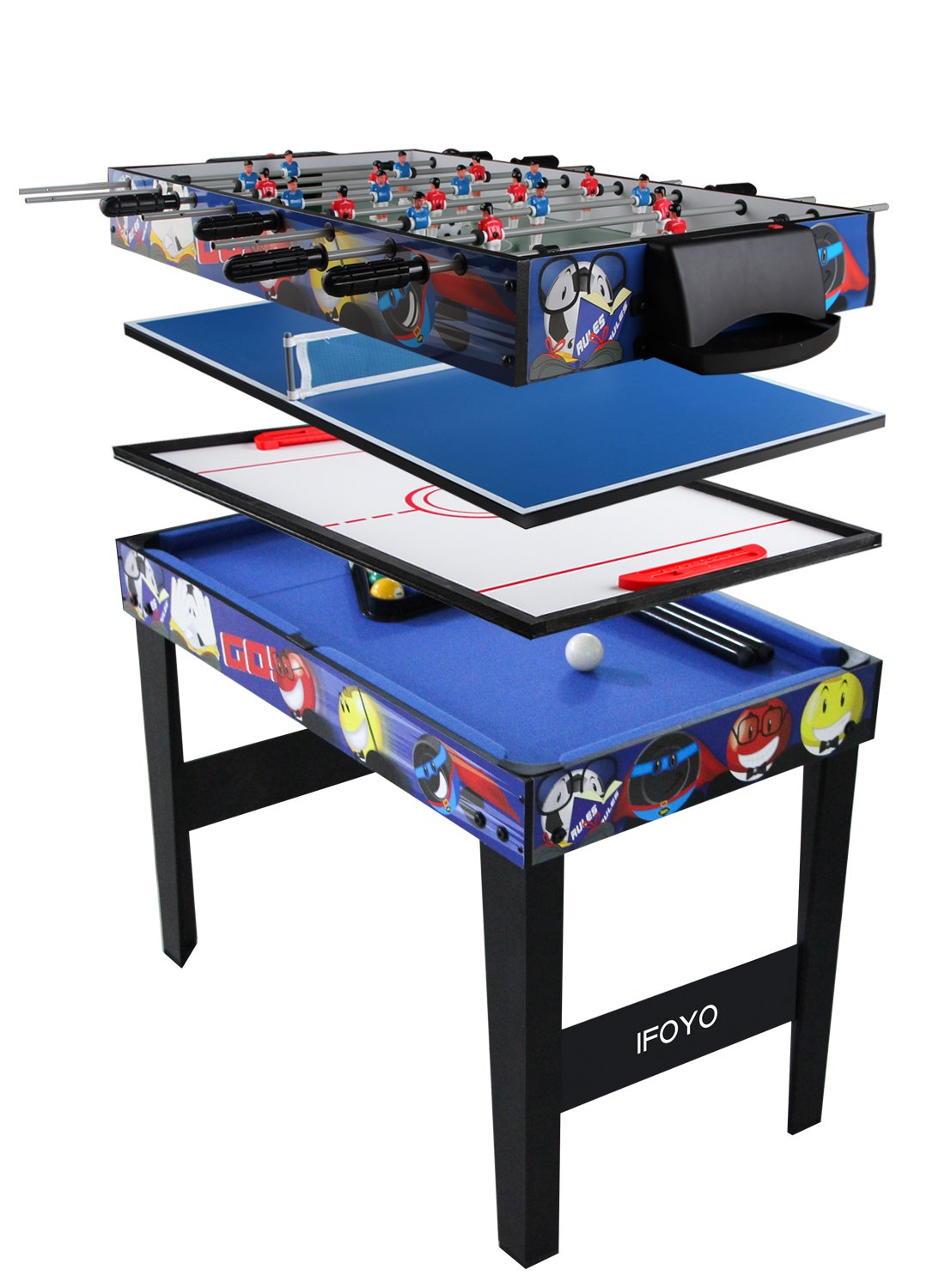 4 in 1 Multi Game Table for Kids, IFOYO 31.5 Inch Steady Combo Game Table, Soccer Foosball Table, Hockey Table, Pool Table, Table Tennis Table