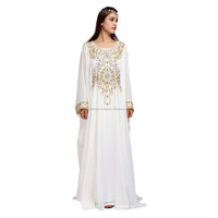 white Crystal embellished fancy dubai abaya Kaftan dress new designs chiffon satin dubai kaftan wholesale